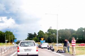 Trafikolycka bil mc E 22 Lösen